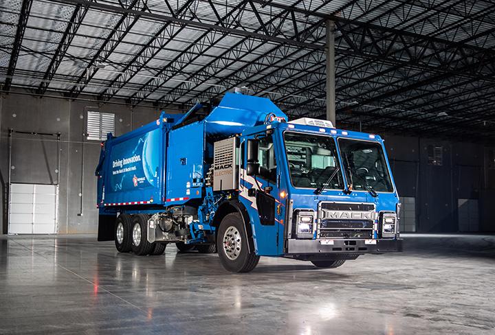 Blue Mack Electric Garbage Truck